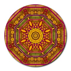 Sunshine Mandala And Other Golden Planets Round Mousepads by pepitasart