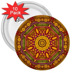 Sunshine Mandala And Other Golden Planets 3  Buttons (10 Pack)  by pepitasart