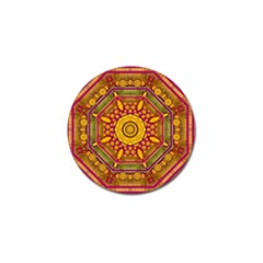 Sunshine Mandala And Other Golden Planets Golf Ball Marker by pepitasart