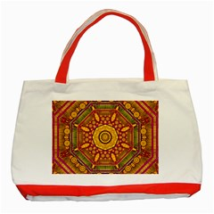 Sunshine Mandala And Other Golden Planets Classic Tote Bag (red)