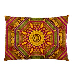 Sunshine Mandala And Other Golden Planets Pillow Case by pepitasart