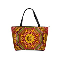 Sunshine Mandala And Other Golden Planets Shoulder Handbags by pepitasart