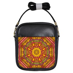 Sunshine Mandala And Other Golden Planets Girls Sling Bags by pepitasart