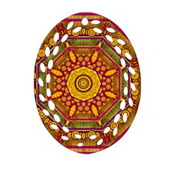 Sunshine Mandala And Other Golden Planets Oval Filigree Ornament (two Sides) by pepitasart