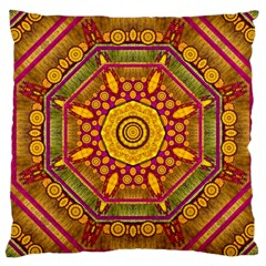 Sunshine Mandala And Other Golden Planets Large Cushion Case (two Sides) by pepitasart