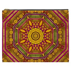Sunshine Mandala And Other Golden Planets Cosmetic Bag (xxxl)  by pepitasart