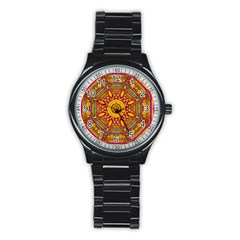 Sunshine Mandala And Other Golden Planets Stainless Steel Round Watch by pepitasart
