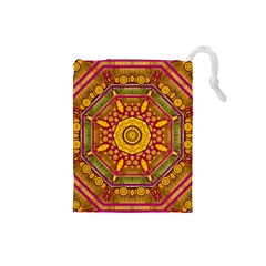 Sunshine Mandala And Other Golden Planets Drawstring Pouches (small)  by pepitasart