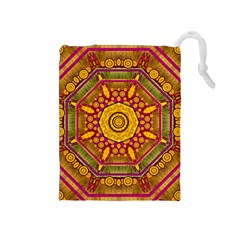 Sunshine Mandala And Other Golden Planets Drawstring Pouches (medium)  by pepitasart