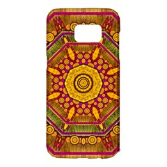 Sunshine Mandala And Other Golden Planets Samsung Galaxy S7 Edge Hardshell Case by pepitasart