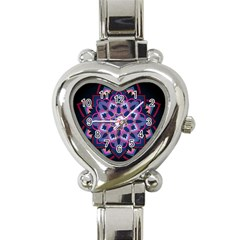 Mandala Circular Pattern Heart Italian Charm Watch by Celenk