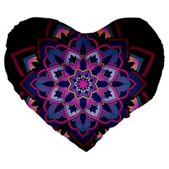 Mandala Circular Pattern Large 19  Premium Flano Heart Shape Cushions