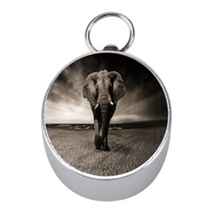 Elephant Black And White Animal Mini Silver Compasses by Celenk