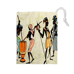Man Ethic African People Collage Drawstring Pouches (large)  by Celenk