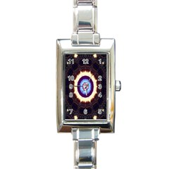 Mandala Art Design Pattern Rectangle Italian Charm Watch