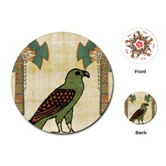 Egyptian Paper Papyrus Bird Playing Cards (round)  by Celenk