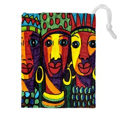 Ethnic Bold Bright Artistic Paper Drawstring Pouches (xxl) by Celenk