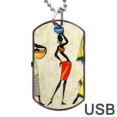 Woman Ethic African People Collage Dog Tag Usb Flash (one Side) by Celenk