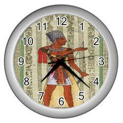 Egyptian Design Man Royal Wall Clocks (silver)  by Celenk
