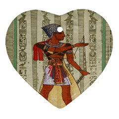 Egyptian Design Man Royal Heart Ornament (two Sides) by Celenk