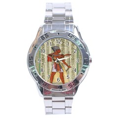 Egyptian Design Man Royal Stainless Steel Analogue Watch by Celenk