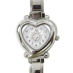 Mandala Ethnic Pattern Heart Italian Charm Watch by Celenk