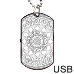 Mandala Ethnic Pattern Dog Tag Usb Flash (two Sides) by Celenk