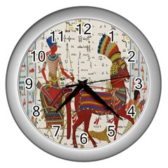 Egyptian Tutunkhamun Pharaoh Design Wall Clocks (silver)  by Celenk