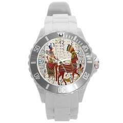 Egyptian Tutunkhamun Pharaoh Design Round Plastic Sport Watch (l) by Celenk