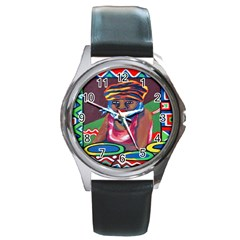 Ethnic Africa Art Work Drawing Round Metal Watch