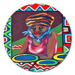 Ethnic Africa Art Work Drawing Magnet 5  (round) by Celenk