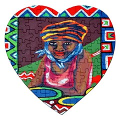 Ethnic Africa Art Work Drawing Jigsaw Puzzle (heart) by Celenk