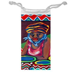 Ethnic Africa Art Work Drawing Jewelry Bag by Celenk