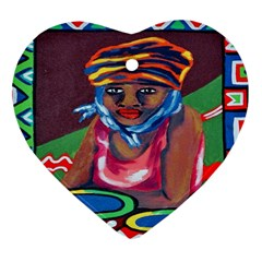 Ethnic Africa Art Work Drawing Heart Ornament (two Sides) by Celenk
