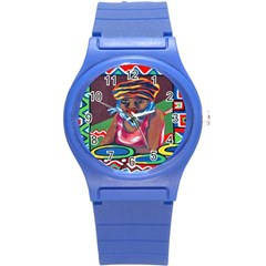 Ethnic Africa Art Work Drawing Round Plastic Sport Watch (s) by Celenk