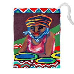 Ethnic Africa Art Work Drawing Drawstring Pouches (xxl) by Celenk