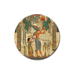 Egyptian Man Sun God Ra Amun Rubber Coaster (round)  by Celenk
