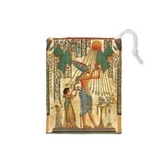 Egyptian Man Sun God Ra Amun Drawstring Pouches (small)  by Celenk