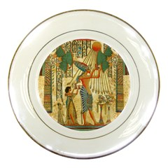 Egyptian Man Sun God Ra Amun Porcelain Plates by Celenk