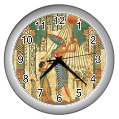 Egyptian Man Sun God Ra Amun Wall Clocks (silver)  by Celenk