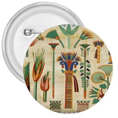 Egyptian Paper Papyrus Hieroglyphs 3  Buttons by Celenk