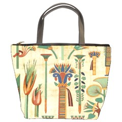 Egyptian Paper Papyrus Hieroglyphs Bucket Bags by Celenk