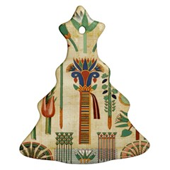 Egyptian Paper Papyrus Hieroglyphs Christmas Tree Ornament (two Sides) by Celenk