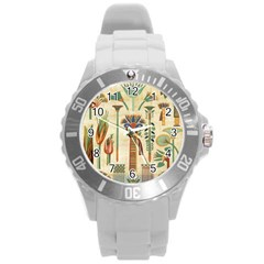 Egyptian Paper Papyrus Hieroglyphs Round Plastic Sport Watch (l) by Celenk