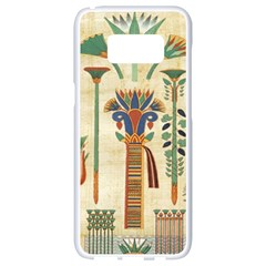 Egyptian Paper Papyrus Hieroglyphs Samsung Galaxy S8 White Seamless Case by Celenk