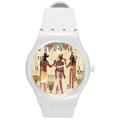Egyptian Design Man Woman Priest Round Plastic Sport Watch (m) by Celenk