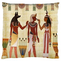 Egyptian Design Man Woman Priest Large Cushion Case (one Side) by Celenk