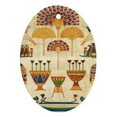 Egyptian Paper Papyrus Hieroglyphs Oval Ornament (two Sides) by Celenk