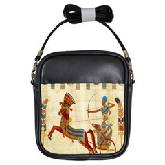 Egyptian Tutunkhamun Pharaoh Design Girls Sling Bags by Celenk