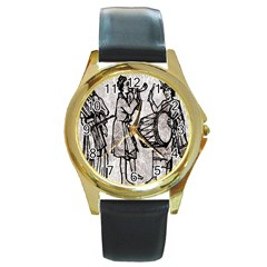 Man Ethic African People Collage Round Gold Metal Watch by Celenk